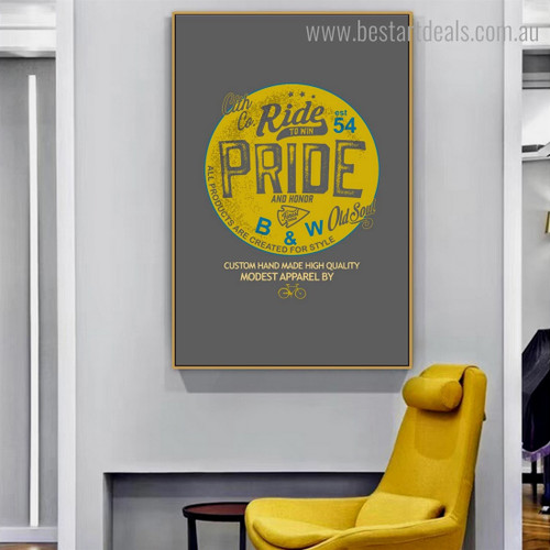 Ride Pride Quote Contemporary Abstract Contemporary Framed Artwork Photo Canvas Print for Room Wall Ornament