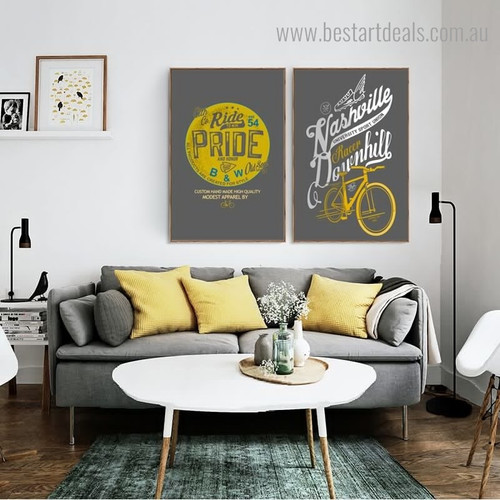Ride Downhill Quote Abstract Contemporary Framed Artwork Photo Canvas Print for Room Wall Adornment