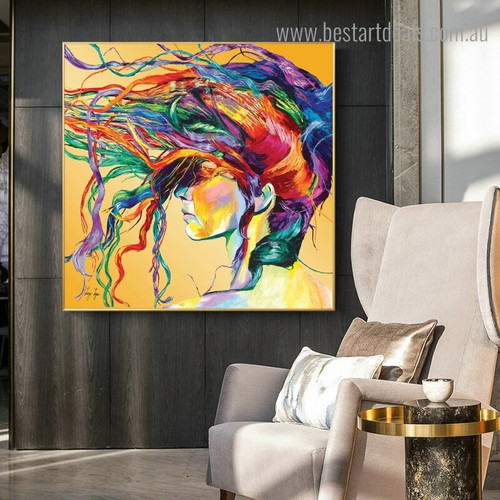 Chromatic Hair Wench Abstract Modern Framed Painting Portrait Canvas Print for Wall Disposition