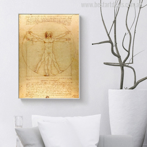 The Vitruvian Man is a Drawing Print for Room Decor