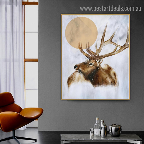 Elk Moon Abstract Animal Modern Framed Painting Pic Canvas Print for Room Wall Garnish