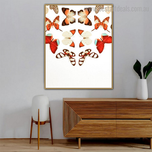 Flying Butterflies Abstract Animal Modern Framed Painting Portrait Canvas Print for Room Wall Tracery