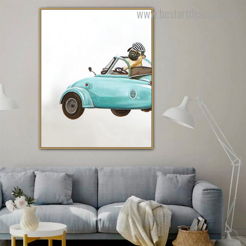 Pug Car Abstract Animal Modern Framed Painting Image Canvas Print for Room Wall Disposition