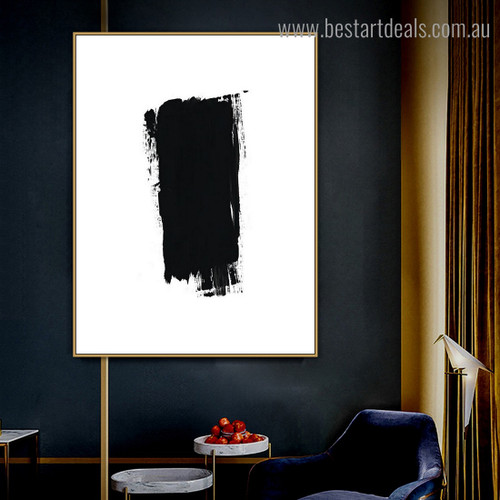 Black Abstract Modern Framed Artwork Portrait Canvas Print for Room Wall Finery