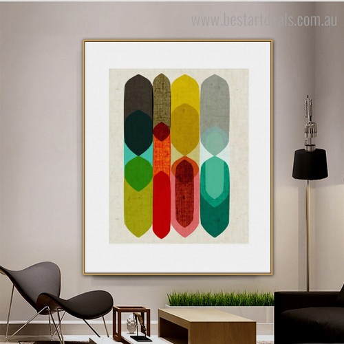 Colorful Figures Abstract Nordic Framed Painting Photo Canvas Print for Wall Hanging Decor