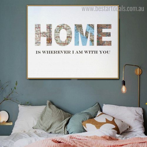 Home Map Abstract Nordic Framed Painting Pic Canvas Print for Wall Decoration