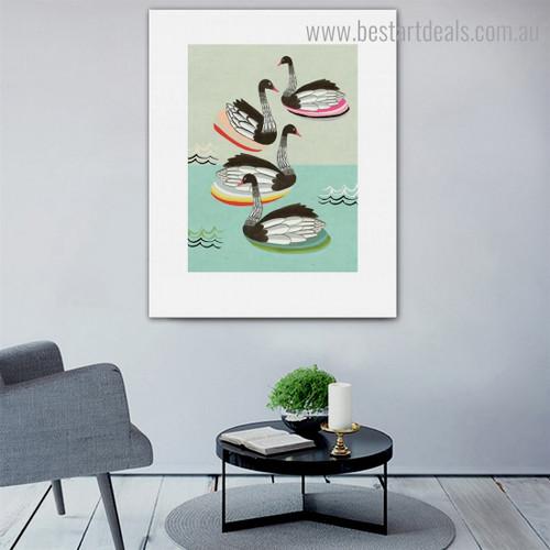 Ducks Bird Seascape Nordic Framed Artwork Photo Canvas Print for Room Wall Onlay