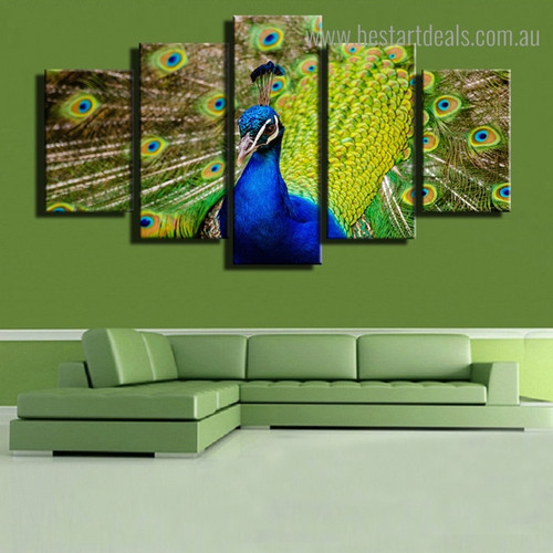 Peacock Spreads Tail Bird Modern Framed Painting Picture Canvas Print for Room Wall Flourish