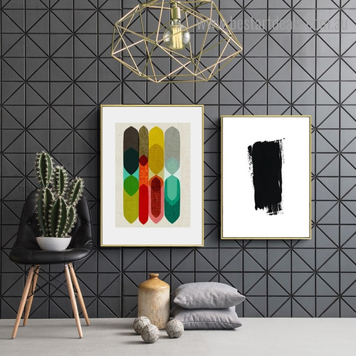 Chromatic Shapes Abstract Modern Nordic Framed Painting Picture Canvas Print for Room Wall Ornament