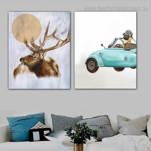 Elk Pug Animal Abstract Modern Nordic Framed Painting Portrait Canvas Print for Room Wall Decor