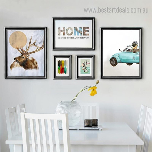 Home Elk Animal Bird Abstract Nordic Framed Painting Pic Canvas Print for Wall Decoration
