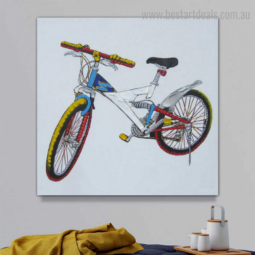 Colorific Bicycle Abstract Modern Framed Artwork Image Canvas Print for Room Wall Getup