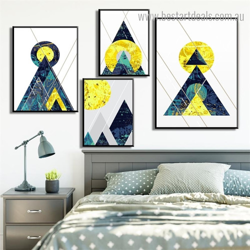 Multi Colored Triangular Abstract Geometric Vintage Nordic Framed Painting Pic Canvas Print for Room Wall Decor