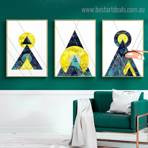 Triangle Circle Abstract Geometric Vintage Nordic Framed Painting Photo Canvas Print for Room Wall Outfit
