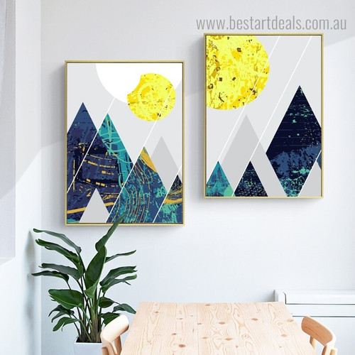Sun Hills Abstract Landscape Vintage Nordic Framed Artwork Portrait Canvas Print for Room Wall Getup