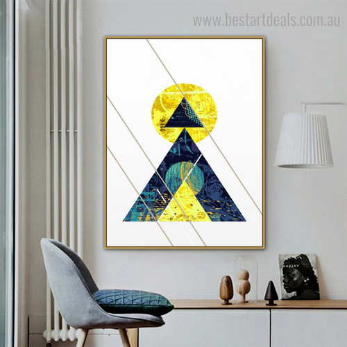 Roundish Triangular Abstract Geometric Vintage Nordic Framed Portraiture Pic Canvas Print for Wall Hanging Decor
