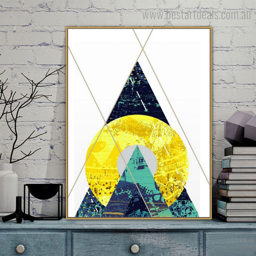 Spherical Trigon Abstract Geometric Vintage Nordic Framed Portraiture Pic Canvas Print for Wall Decoration