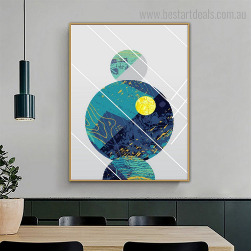 Spheric Shapes Abstract Geometric Vintage Nordic Framed Portraiture Portrait Canvas Print for Wall Equipment