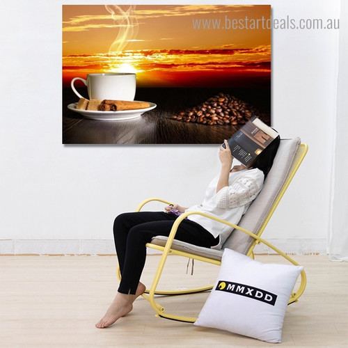 Coffee With Snacks Food & Beverage Landscape Framed Painting Picture Canvas Print for Room Wall Getup
