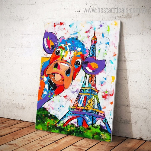 Cow Tower Abstract Animal Watercolor Framed Painting Picture Canvas Print for Room Wall Onlay