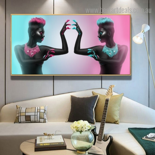 Black Nude Ladies Abstract Framed Painting Portrait Canvas Print For Room Wall Ornament