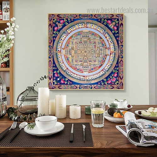 Mandala Abstract Vintage Framed Painting Picture Canvas Print for Room Wall Tracery
