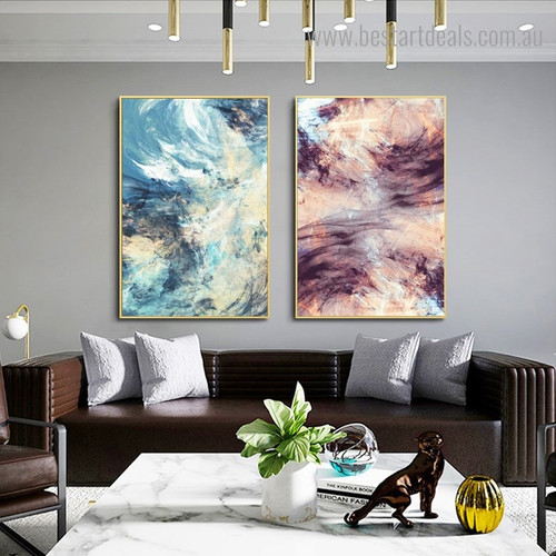 Colorific Brush Abstract Modern Framed Portraiture Portrait Canvas Print for Room Wall Getup