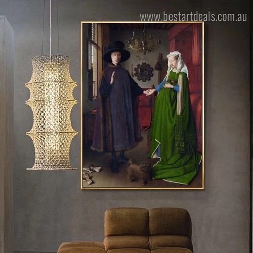 Arnolfini Portrait Jan Van Eyck Figure Reproduction Framed Artwork Photo Canvas Print for Room Wall Decoration