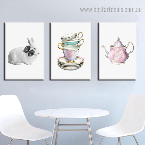 Cup Kettle Abstract Modern Framed Portraiture Image Canvas Print for Room Wall Assortment