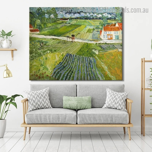 Landscape with Carriage Van Gogh Reproduction Framed Artwork Portrait Canvas Print for Room Wall Onlay