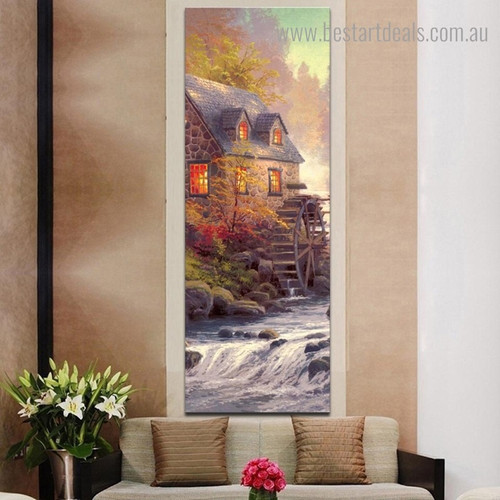 House with Waterwheel Kinkade Reproduction Framed Artwork Pic Canvas Print for Room Wall Decoration