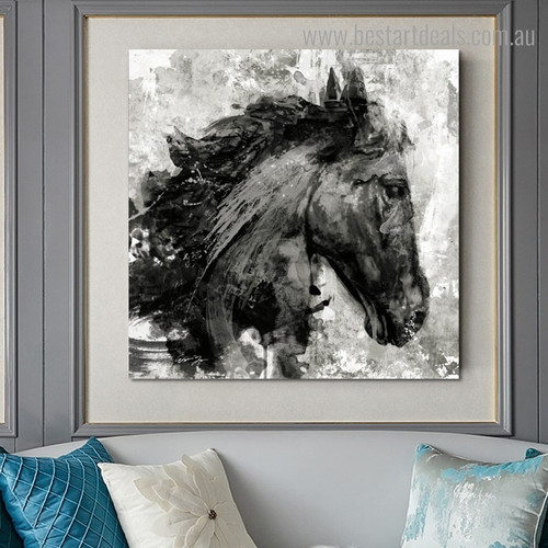 Black Horse Face Abstract Animal Framed Artwork Pic Canvas Print for Room Wall Flourish