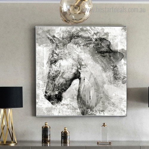 White Horse Visage Abstract Animal Framed Artwork Pic Canvas Print for Room Wall Ornament