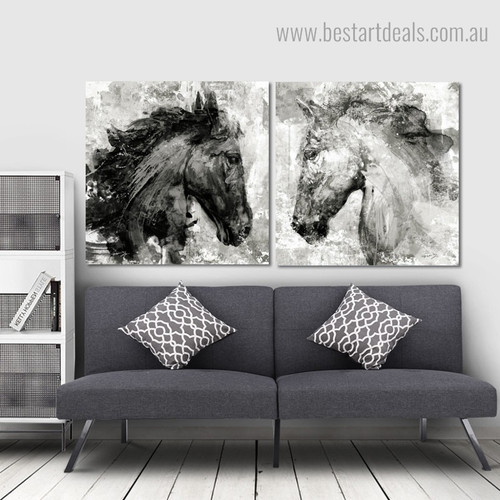 Horse Masks Abstract Animal Framed Artwork Pic Canvas Print for Wall Decoration