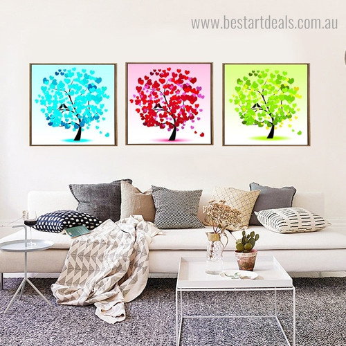 Heart Shape Leaves Abstract Framed Artwork Photo Canvas Print for Room Wall Getup