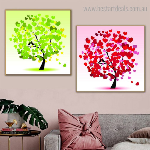 Heart Figure Leafage Abstract Framed Painting Image Canvas Print for Room Wall Tracery