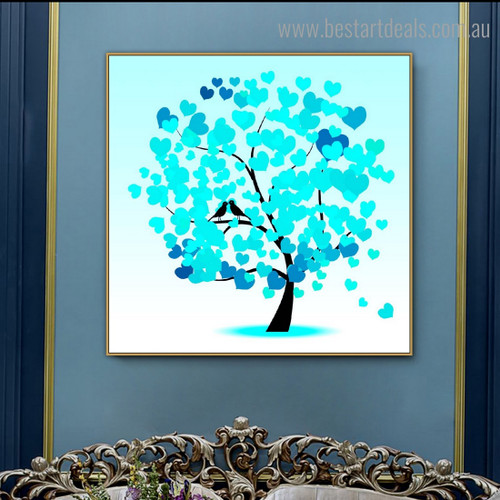 Blue Heart Leaves Abstract Framed Painting Image Canvas Print for Room Wall Garnish