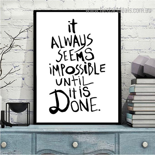 Impossible is Done Inspirational Quote Framed Painting Picture Canvas Print for Room Wall Ornament