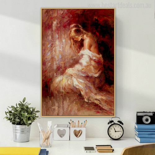 Half-Naked Girl Painting Print for Study Room Decor