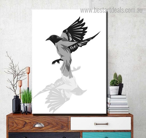 Black Crow Bird Framed Artwork Pic Canvas Print for Room Wall Ornament