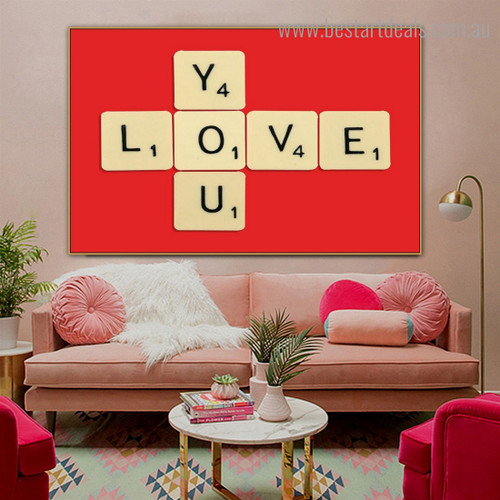 Love You Quote Framed Artwork Photo Canvas Print for Room Wall Tracery