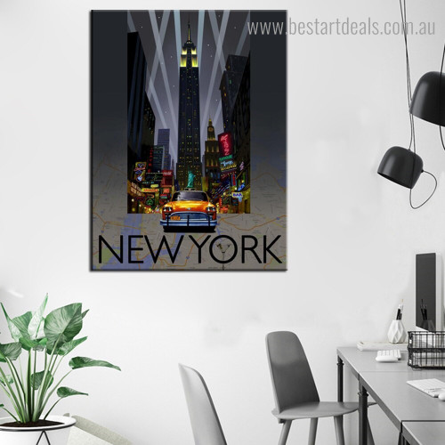 New York City Landscape Modern Framed Painting Picture Canvas Print for Room Wall Decoration