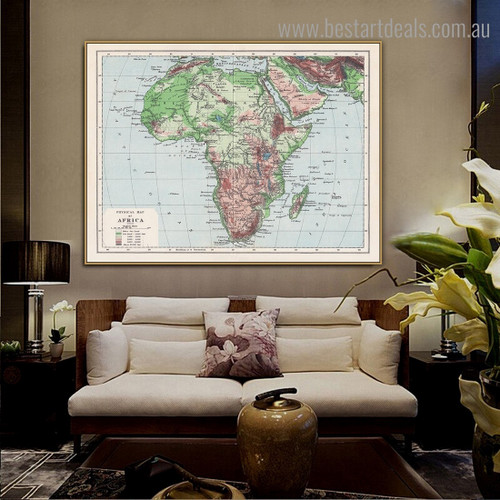 Africa Map Abstract Modern Framed Painting Photograph Canvas Print for Room Wall Decor