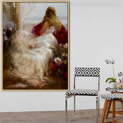 Repose Girl Beautiful Watercolor Painting Canvas Print for Living Room Ideas