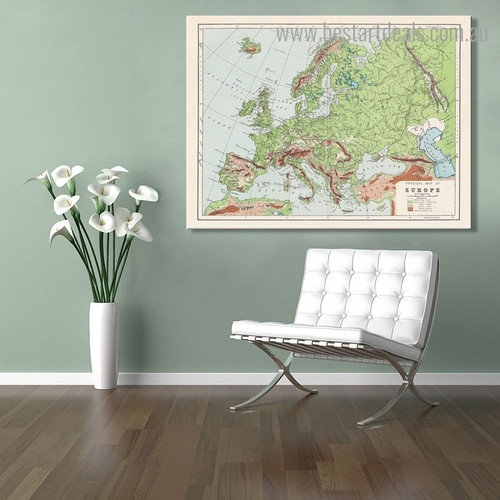 Map of Europe Abstract Modern Framed Painting Pic Canvas Print for Room Wall Assortment
