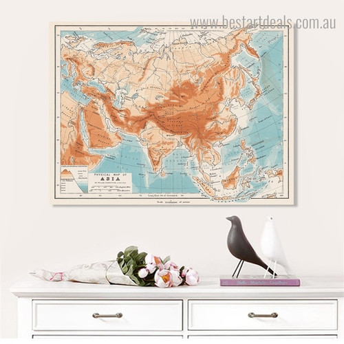 Asia Map Abstract Modern Framed Painting Pic Canvas Print for Room Wall Garniture