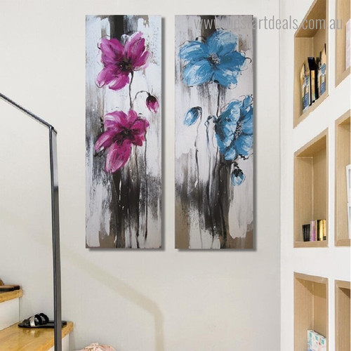 Pink and Blue Blooms Abstract Floral Watercolor Panoramic Framed Painting Picture Canvas Print for Room Wall Finery