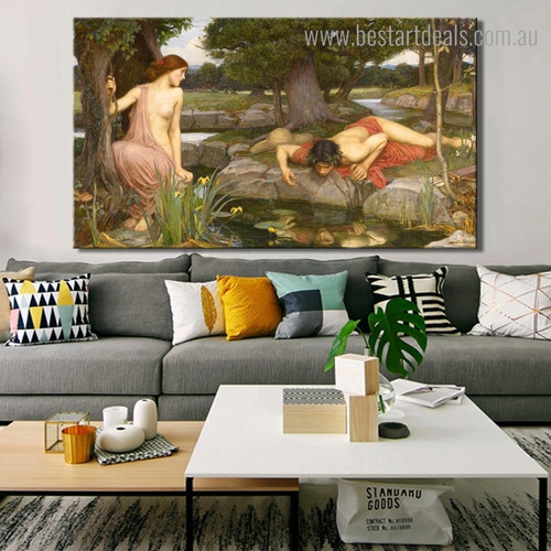 Echo and Narcissus John William Nude Reproduction Framed Artwork Photo Canvas Print for Room Wall Flourish