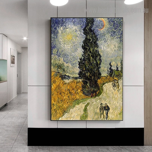Road with Cypress Van Gogh Impressionist Reproduction Framed Artwork Image Canvas Print for Room Wall Outfit