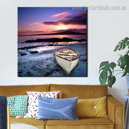 Wooden Boat Landscape Modern Framed Painting Portrait Canvas Print for Room Wall Adornment